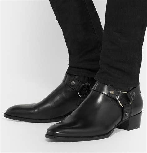Saint Laurent Leather Harness Boots Preacher Styles