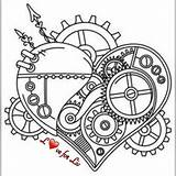 Steampunk Coloring Heart Urban Tattoo Threads Clock Adult Unique Embroidery Awesome Coeur Cogs Gears Colouring Mandala Dessin Colorear Adultos Drawing sketch template