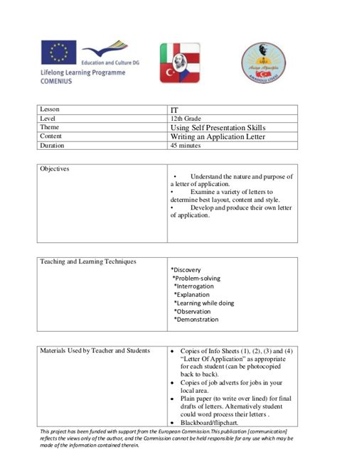 writing  application letter lesson plan turkey