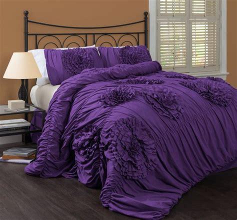 lush decor serena bedskirt purple bedding set luxurious duvet bedspread regal bedroom