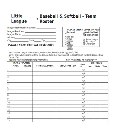 T Lineup Template by 21 Roster Form Templates 0 Freesle Exle Format