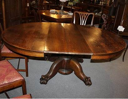Table Oak Round Antique Claw Feet Leaves