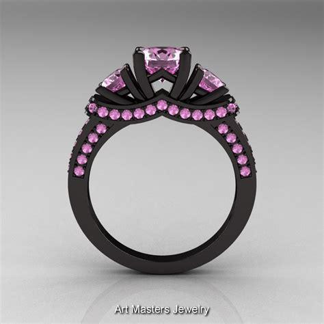 french 14k black gold three stone light pink sapphire