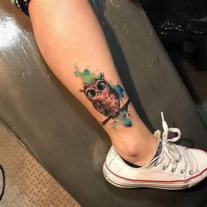 Búho estilo Acuarelas Tatuajes para Mujeres
