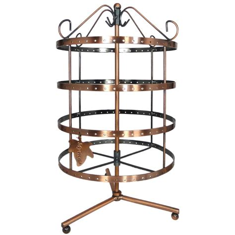 copper rotating tier metal earring jewelry holder stand