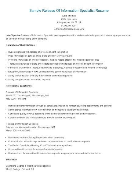 resume sles sle release of information specialist resume