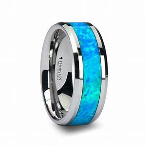 caesar men39s tungsten wedding band with opal inlay With mens blue wedding rings