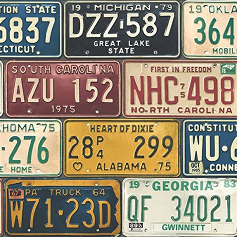 wallpaper fun vintage style united states usa license plates buy   bahrain seabrook