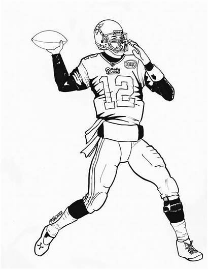 Football Nfl Player Drawing Coloring Pages Playing