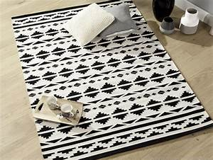 Tapis Graphique Noir Et Blanc : o trouver un tapis noir et blanc joli place ~ Teatrodelosmanantiales.com Idées de Décoration