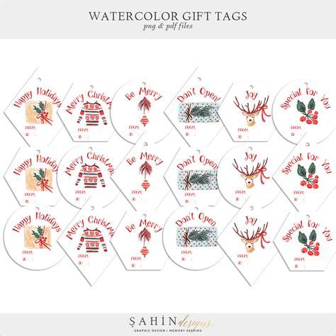 printable watercolor christmas gift tags  sahin designs
