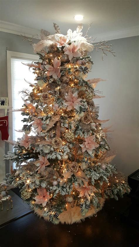 white christmas tree blush pink gold champagne