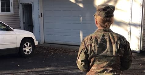 Mom Returns Home From The Army And Waits Outside As She