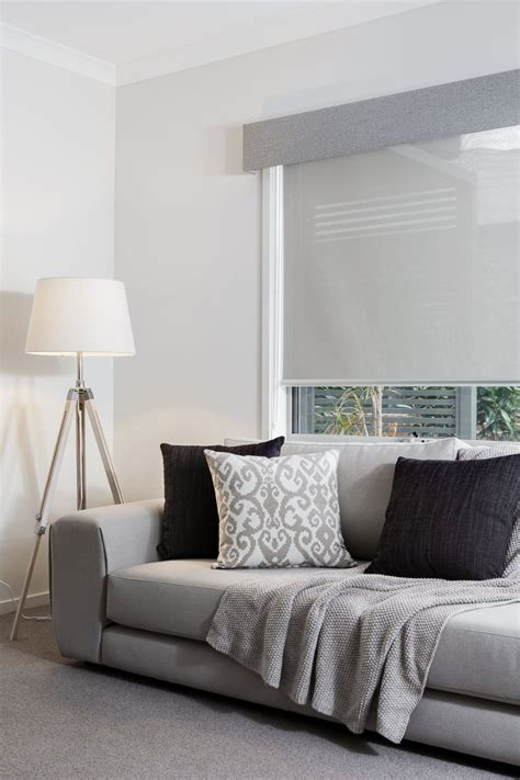 Living Room Curtain And Blind Ideas by Grey Coloured Pelmet And Translucent Roller Blind
