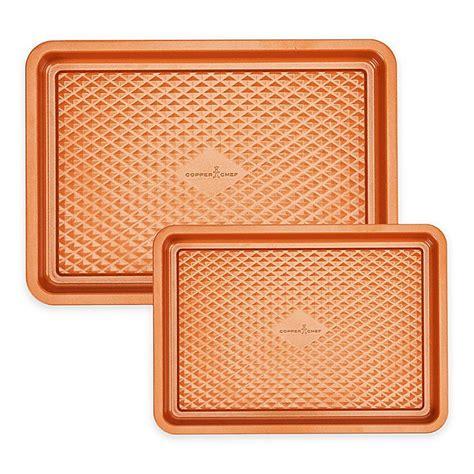 copper chef diamond bakeware  piece nonstick cookie sheet set bed bath