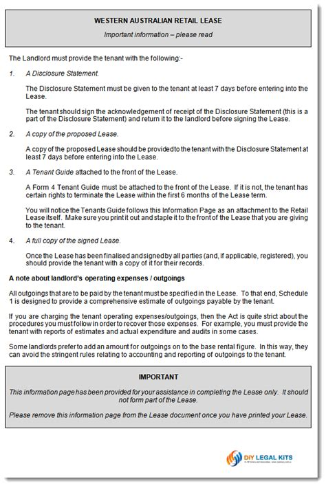 commercial lease agreement template  wa retail shop