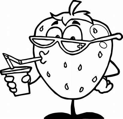 Coloring Cartoon Pages Drink Character Strawberry Characters