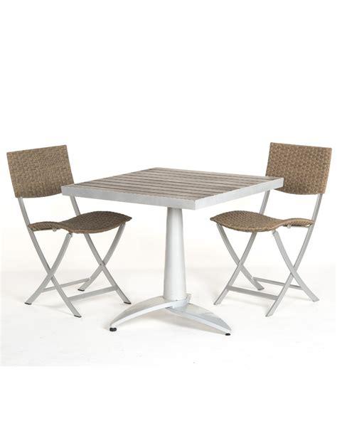 chaises privees table terrasse en bois 76x76 2 chaises fixes de jardin