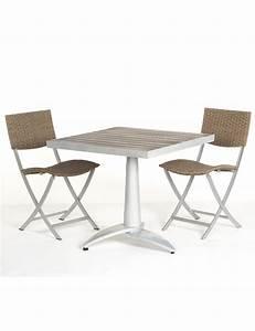 Table Terrasse En Bois 76x76 2 Chaises Fixes De Jardin