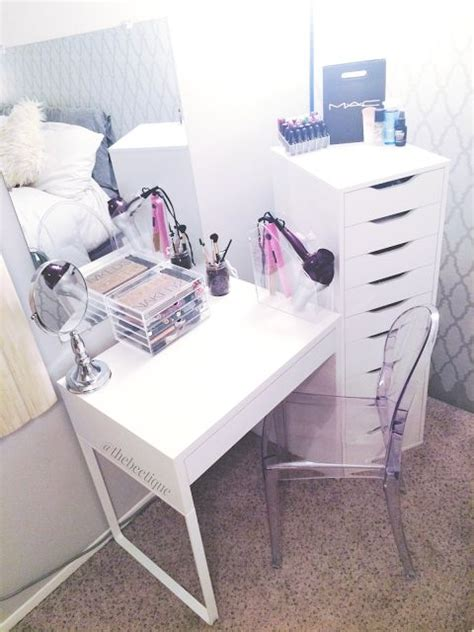 diy white ikea vanity makeup organization louis ghost