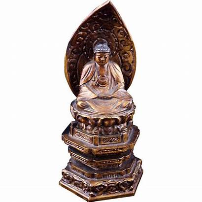 Wood Japanese Carving Buddha 20th Lacquered Century
