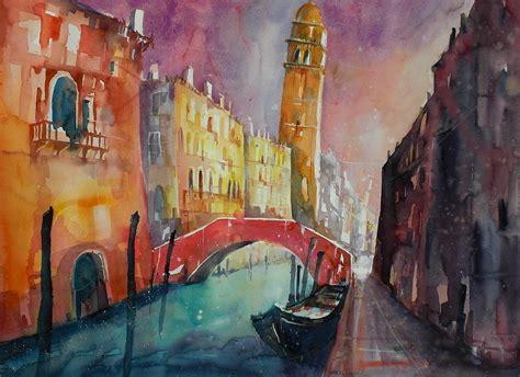 aquarell venedig rio  san lorenzo venedig