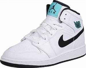 Jordan 1 Mid GS shoes white