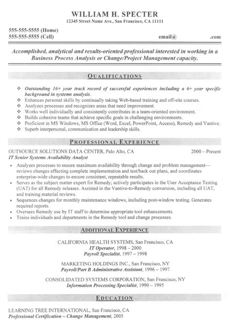 Change Resume Format by Change Manager Project Manager Sle Resume Career Diy