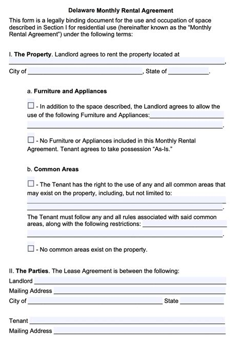 delaware month  month lease agreement template