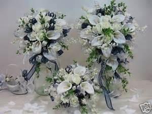 silk petals silk flowers wedding bridal bouquet navy package ebay