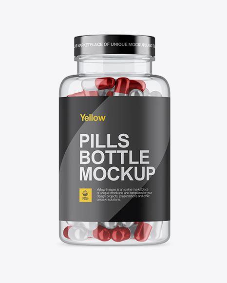 Bottle, capsules, medicine, metallized, mockup, nutrition, pack, package, pastic, pharmacy, pills, plastic. Clear Plastic Bottle With Metallic Pills Mockup in Bottle ...