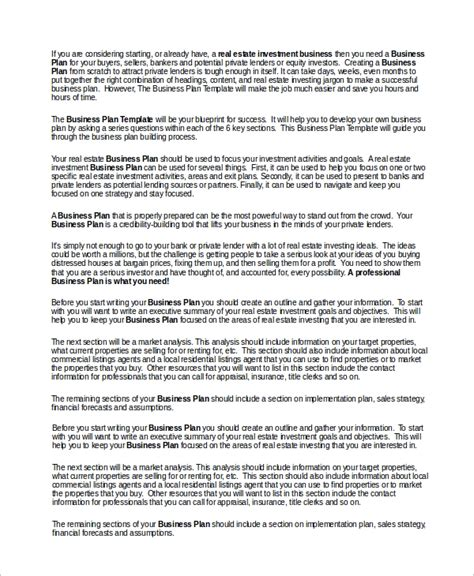 sle real estate business plan 11 exles in word pdf