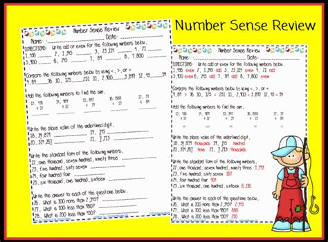 grade 3 math number sense worksheets number sense and