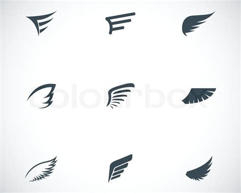 vector black wing icons set stock vector colourbox