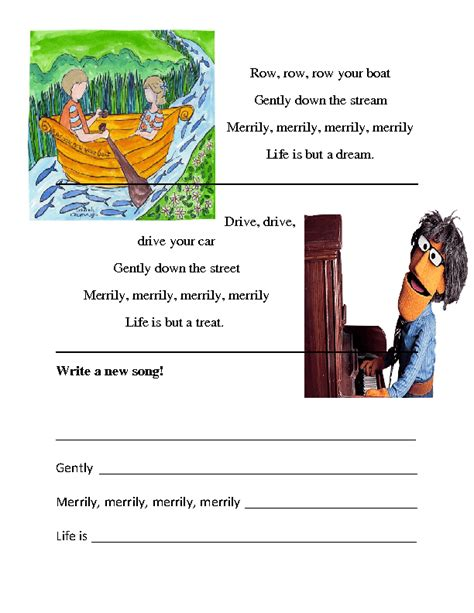 Row Row Your Boat Worksheet by Song Worksheet Row Your Boat Drive Your Car