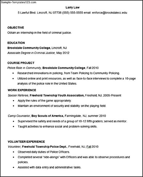 Criminal Justice Objective Statements For Resumes by Sle Criminal Justice Resume Template Sle Templates