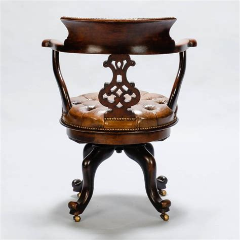 tufted swivel desk chair french mahogany and tufted leather swivel desk chair at