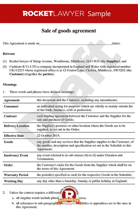 sale  goods agreement bb sale  goods contract