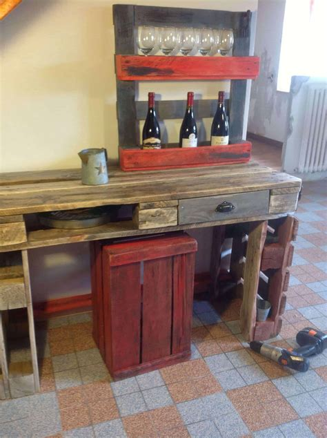 table cuisine palette kitchen table wine rack out of recycled pallets 1001