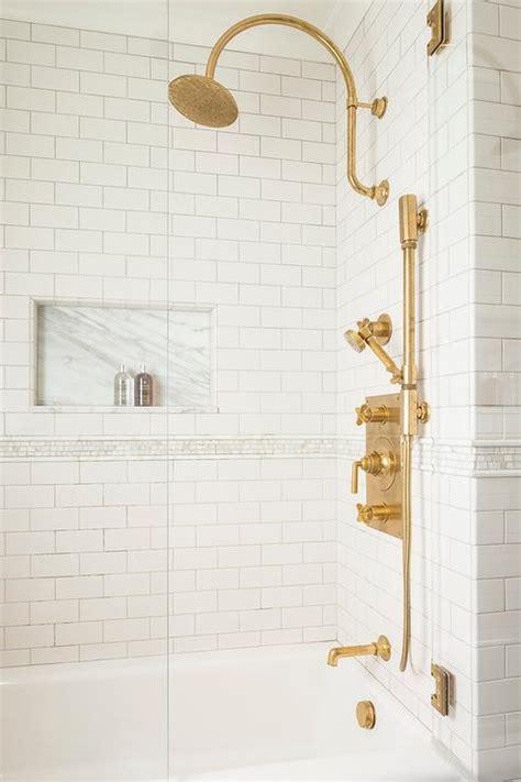 tub  shower combo  aged brass vintage gooseneck