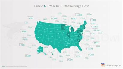 Cost Tuition State Average Private Map Infographic