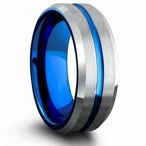 rose gold tungsten wedding band with beveled edges brush With blue mens wedding rings