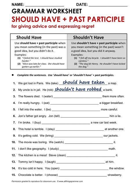 grammar worksheet should past participle 1 2 http allthingsgrammar
