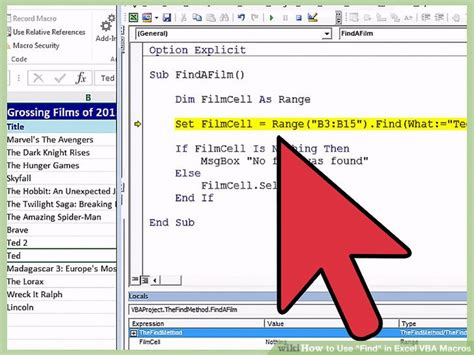 how to use quot find quot in excel vba macros 9 steps with pictures