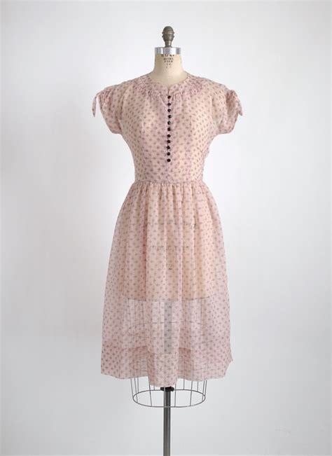 1950s pink   black sheer nylon dress   Hemlock Vintage