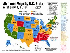 Minimum Wage by U.S. State as of July 1, 2018 - FactsMaps