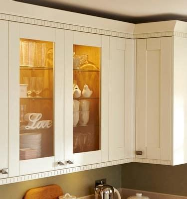 howdens full height glass wall units  castellated cornice  pelmet kitchen collection
