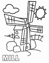 Mill Coloring sketch template