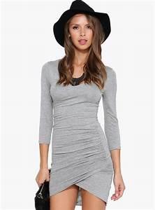 Grey Long Sleeve Zipper Slim Bodycon Dress Abadaycom - Wedding Dress Inspiration