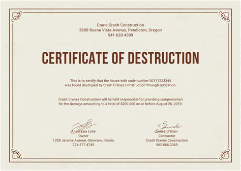 certificate of disposal template certificate of templates 10 free pdf format free premium templates